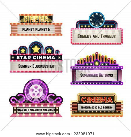 Old theater movie neo light signboards in 1930s retro style. Blank cinema and casino vector banners. Signboard for cinema billboard, comedy and tragedy, superhero and blockbuster illustration poster