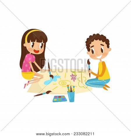 Cute Little Kids Sitting On The Floor And Drawing Paints On Large Sheet Of Paper, Education And Chil
