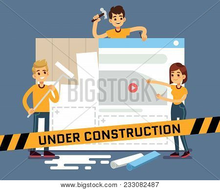 Website Under Construction Vector Cartoon Concept With Web Designers. Web Site Under Construction Pa