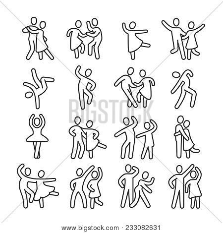 Happy Dancing Woman And Man Couple Icons. Disco Dance Lifestyle Vector Pictograms. Illustration Of C