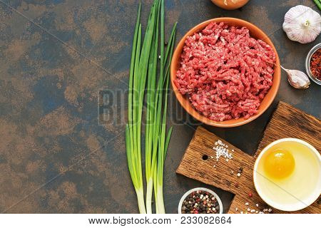 Ground Beef. Ingredients For Making Cutlets, Meatballs - Ground Beef, Raw Egg, Spices, Green Onion O