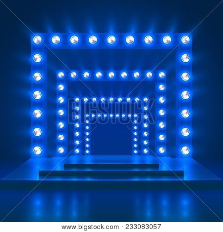Show Show Casino Vector Background With Stage And Light Decoration. Shiny Dance Theatre Podium. Illu
