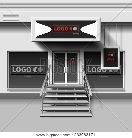 Shop Exterior Vector Template. 3d Storefront With Entrance Door. Illustration Of Storefront Store An