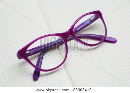 Purple Eyeglasses, Children Spectacles Or Glasses On White Background