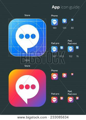 Smart Phone App Vector Mobile Os Icon Templates With Guidelines. User Guide App Web Icon, Mobile App