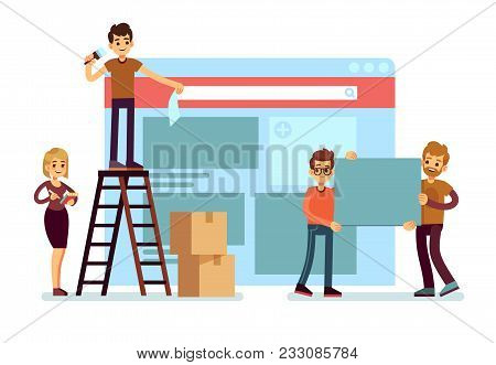 Website Construction And Webdesign Ui Building With People Team. Web Interface Development Vector Co