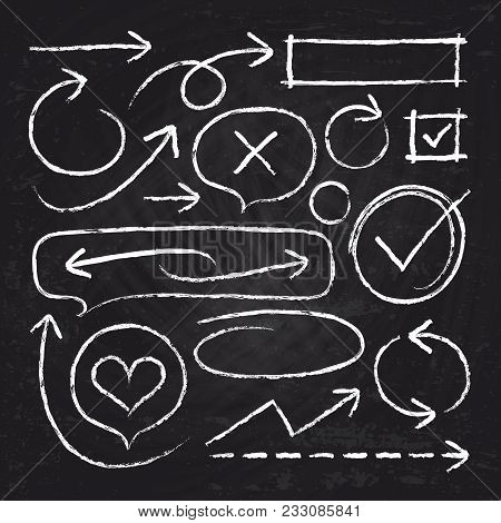 Hand Drawn White Chalk Arrows, Circle Frames And Sketch Graphic Elements Isolated On Blackboard Vect