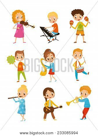 Children Playing Music Instrument, Talented Little Musician Characters Cartoon Vector Illustrations