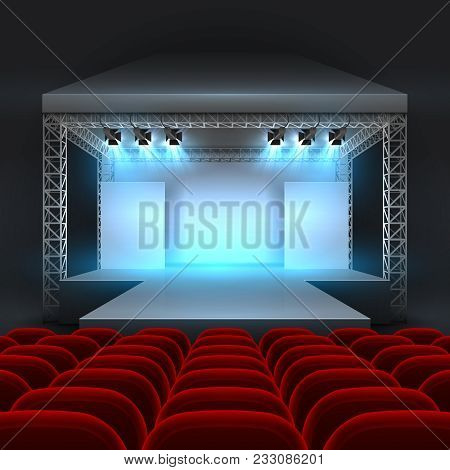 Empty Theatre Stage With Spotlight Lighting. Concert Hall With Podium And Red Seats Rows. Show Conce
