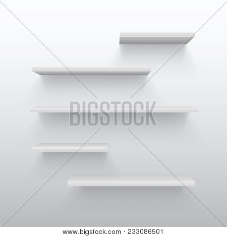 Empty White Trading 3d Shelves With Shadow On Wall. Blank Bookshelf For Home Interior Vector Illustr