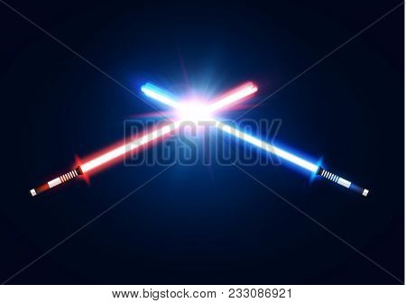 Red And Blue Crossed Light Neon Swords With Trembling Blade Fight. Laser Sabers War Design. Scifi St