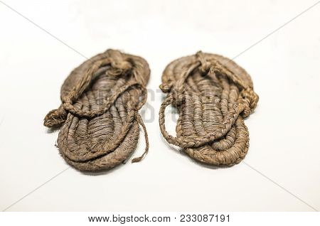 Madrid, Spain - November 11, 2017: Prehistoric Esparto Sandals At National Archeological Museum Of M