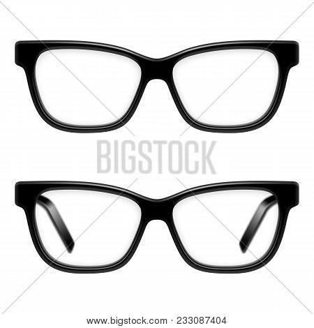 Black Framed Glasses Isolated On White Background