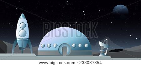 Vector Illustration Of Flat Style Web Banner On The Theme Of Astronomy, Space Exploration, Colonizat