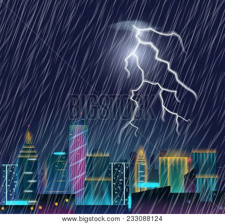 Night Cityscape With Lightning Flash And Heavy Rain. Thunderstorm In The City. Urban Landscape With