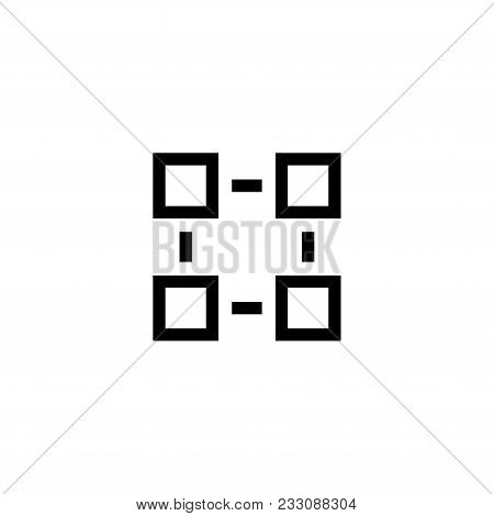 Organisation Structure. Flat Vector Icon. Simple Black Symbol On White Background