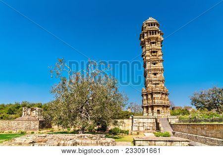 Vijaya Stambha, Tower Of Victory At Chittor Fort. Rajasthan State Of India