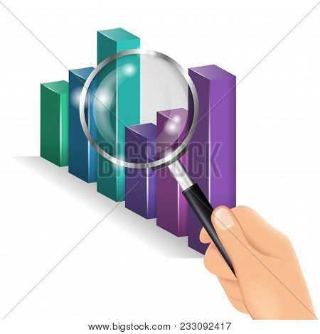 Hand Holding A Magnifying Glass. Business Chart, Analytics. Diagram Is Being Examined Or Inspected U