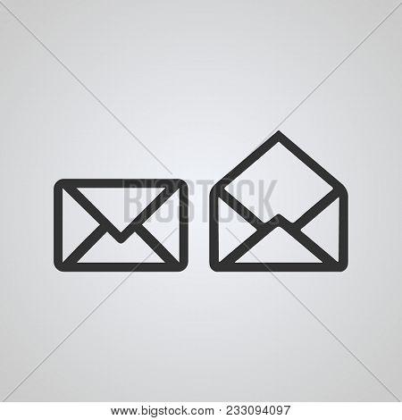 Mail Icon, Read Unread, Line Concept, With Black Color, Vector Icons.