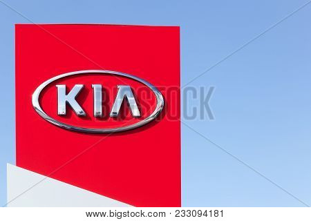 Holme, Denmark - September 20, 2015: Kia Motors Sign On A Panel Of A Dealership. Kia Motors Corporat