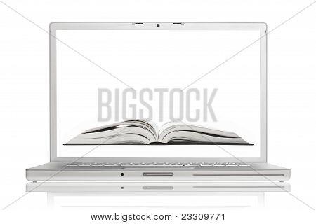 Open Book On Screen Of High-end Aluminium Laptop