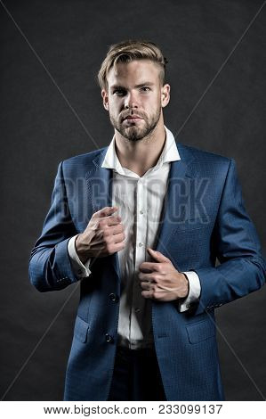 Businessman With Unshaven Face, Hair, Haircut. Man In Formal Suit Jacket, Shirt, Fashion. Business,