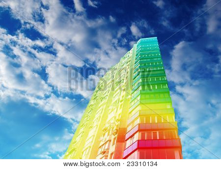 Dwelling, apartment house. Rainbow