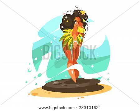 Dancing Girl In National Costume. Carnival Culture Dance. Vector Illustration