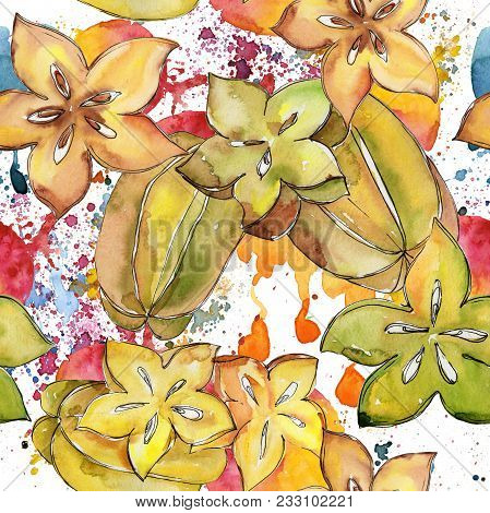 Exotic Carambola Healthy Food Pattern In A Watercolor Style. Full Name Of The Fruit: Carambola. Aqua