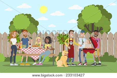 Bbq Party Outdoors With Friends In The Garden.
