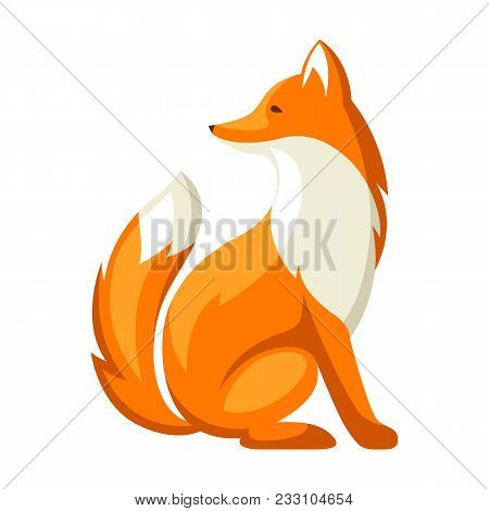 Stylized Illustration Of Fox. Woodland Forest Animal On White Background.