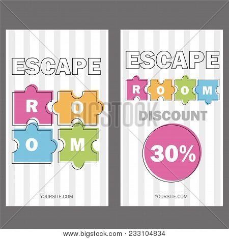 Escape Room. Vector Illustration Poster, Banner On White Background Puzzle Colored Pieces Voucher Te