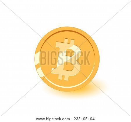 Bitcoin Coin Icon. Gold Bitcoin Cartoon Style Isolated. Shiny Gold Bitcoin Sign For Designers And Il