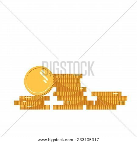 Coins Stack Vector Illustration, Coins Icon Flat, Coins Pile, Coins Money, One Golden Coin Standing