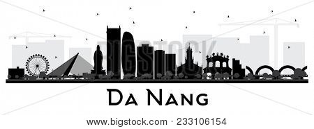 Da Nang Vietnam City Skyline Silhouette with Black Buildings Isolated on White. Business Travel and Tourism Concept with Modern Architecture. Da Nang Cityscape with Landmarks.
