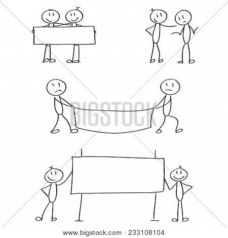 Set Of Stick Figures For The Business Presentation. Vector, Hand Drawn.