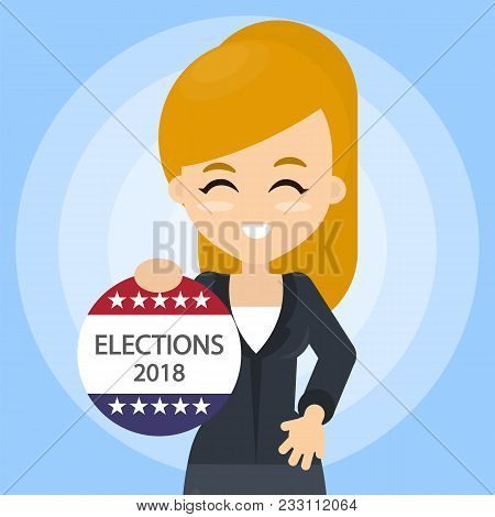 American Election Campaign. Woman With Election Ad.