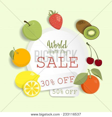 World Health Day Sale Offer With Fresh Fruits.