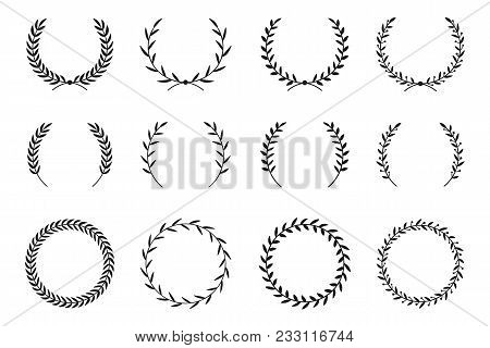 Collection Of Different Laurel Wreaths. Hand Drawn Vector Round Frames For Invitations, Greeting Car