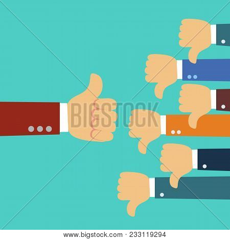 One Hand Of Businessman Leader Boss Or Customer Thumb Up To Their Project, But Many Hands Of Team Di