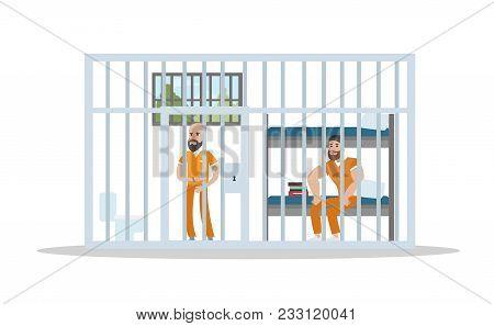 Male Prison Interior With Prisoners On White.