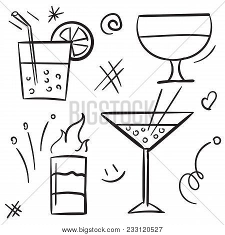 Cocktail Icon Set Isolated On White Background. Vector Icon Alcohol Cocktail And Beverage In Glass F