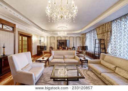 Russia,moscow Region -  Living Room Interior Design In New Luxury House.