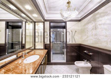 Modern Designer Renovation In A Luxury House.stylish Bathroom Interior.