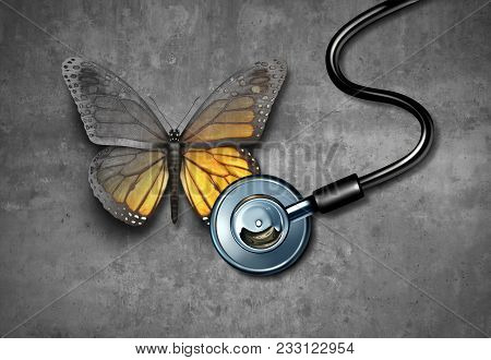 Medical Recovery And Healing Through Doctor Rehabilitation Concept As A Grey Butterfly Being Revived