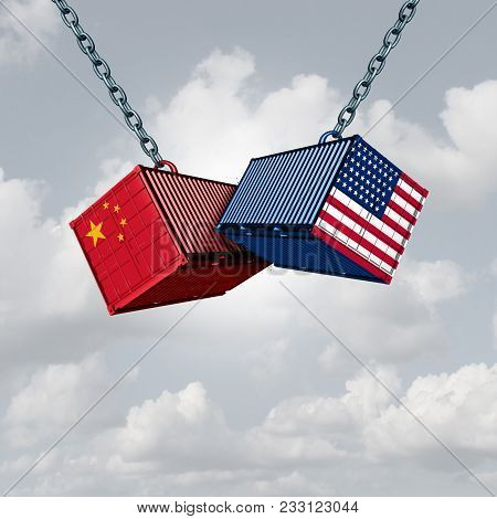 China Usa Trade War And American Tariffs As Two Opposing Cargo Freight Containers In Conflict As An