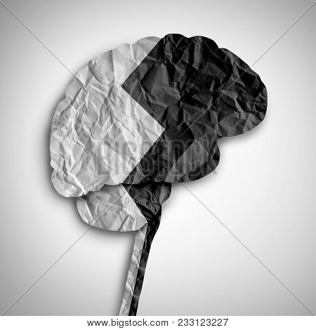Bipolar Brain Disorder As A Psychological Illness Concept As A Thinking Human Organ Divided In Black