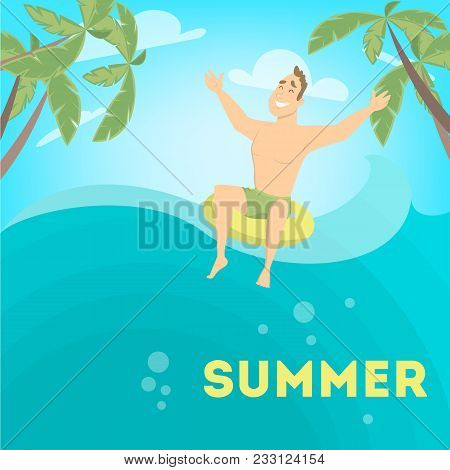Man Enjoying The Summer And Floating In Ring.