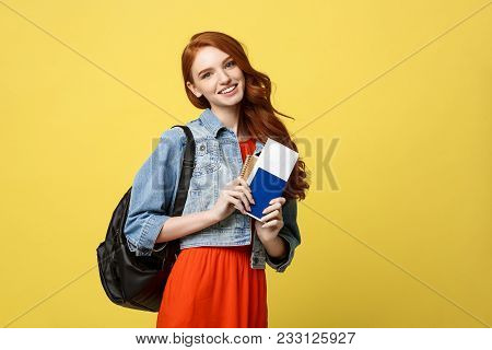 Travel And Lifestyle Concept: Full Length Studio Portrait Of Pretty Young Student Woman Holding Pass