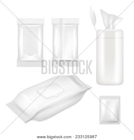 Wet Wipes Package Mockup Set. Vector Realistic White Blank Packaging Foil And Plastic Containers Wit